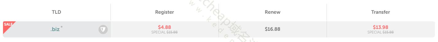 biz域名注册价格