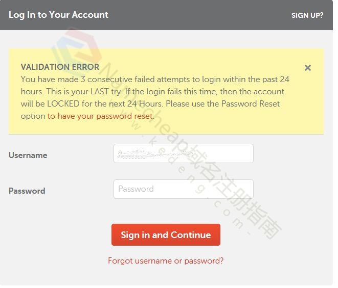 帐户锁定连续 3 次密码/用户名输入失败